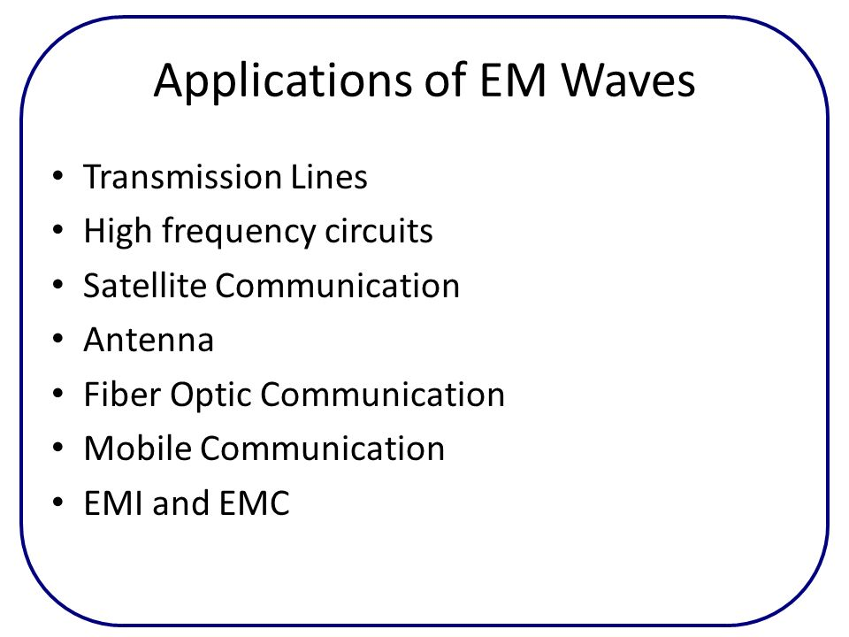 Applications of EM Waves Transmission Lines High frequency circuits Satellite Communication Antenna Fiber Optic Communication Mobile Communication EMI