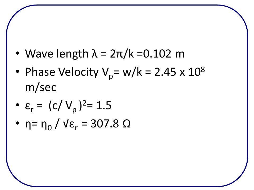 Wave length λ = 2π/k =0.102 m Phase Velocity V p = w/k = 2.45 x 10 8 m/sec ε r = (c/ V p ) 2 = 1.5 η= η 0 / ε r = 307.8