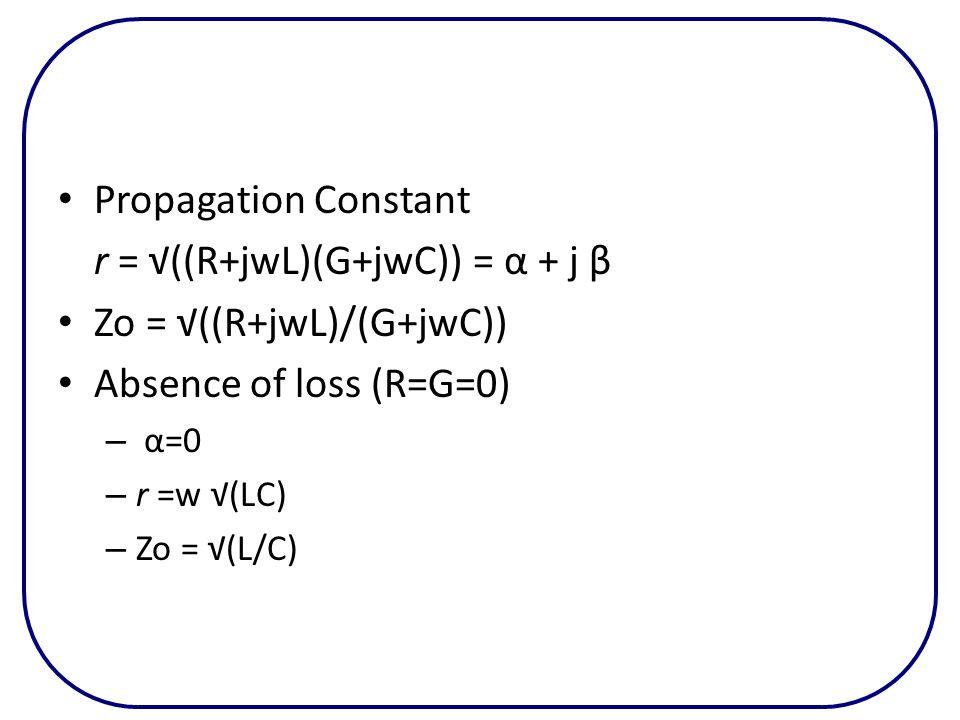 Propagation Constant r = ((R+jwL)(G+jwC)) = α + j β Zo = ((R+jwL)/(G+jwC)) Absence of loss (R=G=0) – α=0 – r =w (LC) – Zo = (L/C)