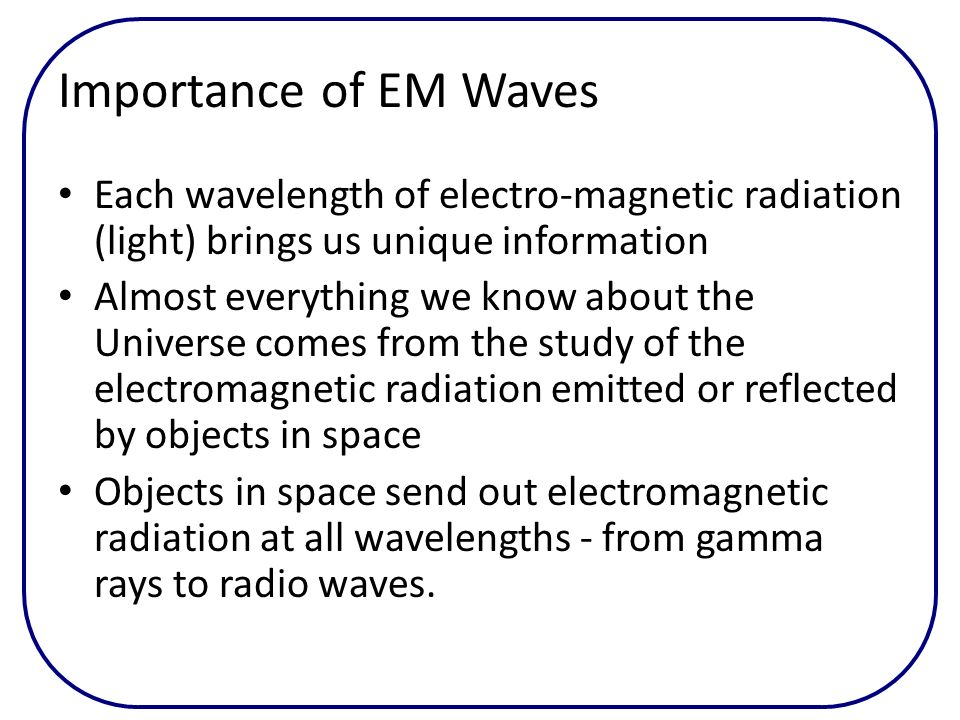 Importance of EM Waves Each wavelength of electro-magnetic radiation (light) brings us unique information Almost everything we know about the Universe
