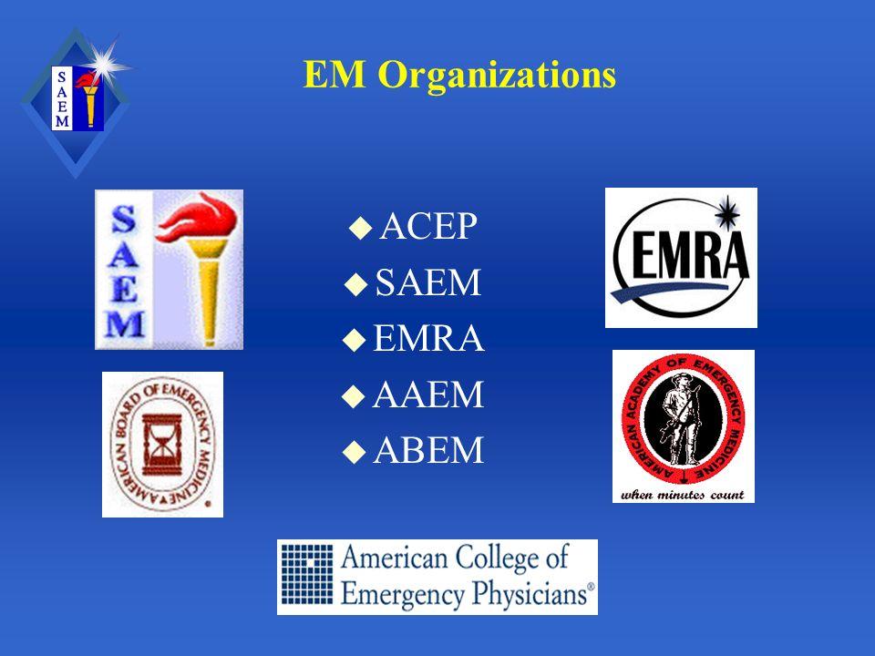EM Organizations u ACEP u SAEM u EMRA u AAEM u ABEM