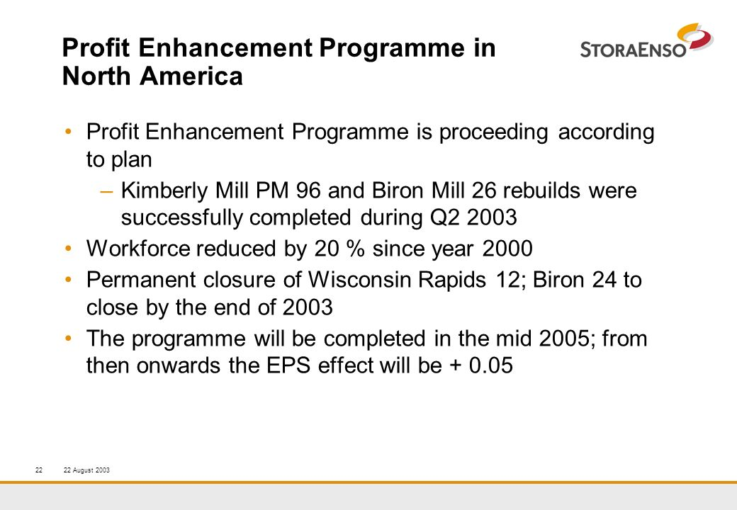 22 August 200322 Profit Enhancement Programme in North America Profit Enhancement Programme is proceeding according to plan –Kimberly Mill PM 96 and Biron Mill 26 rebuilds were successfully completed during Q2 2003 Workforce reduced by 20 % since year 2000 Permanent closure of Wisconsin Rapids 12; Biron 24 to close by the end of 2003 The programme will be completed in the mid 2005; from then onwards the EPS effect will be + 0.05