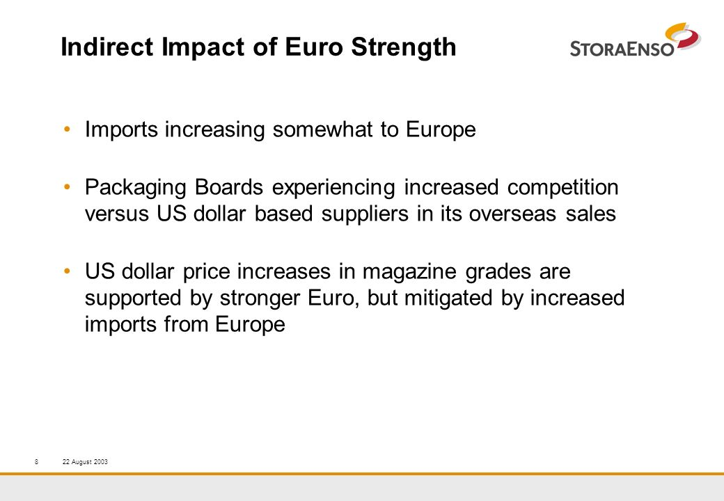 22 August 20038 Indirect Impact of Euro Strength Imports increasing somewhat to Europe Packaging Boards experiencing increased competition versus US dollar based suppliers in its overseas sales US dollar price increases in magazine grades are supported by stronger Euro, but mitigated by increased imports from Europe