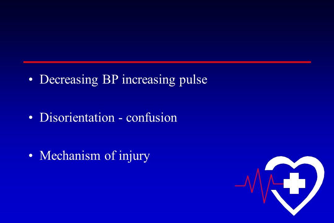 Decreasing BP increasing pulse Disorientation - confusion Mechanism of injury