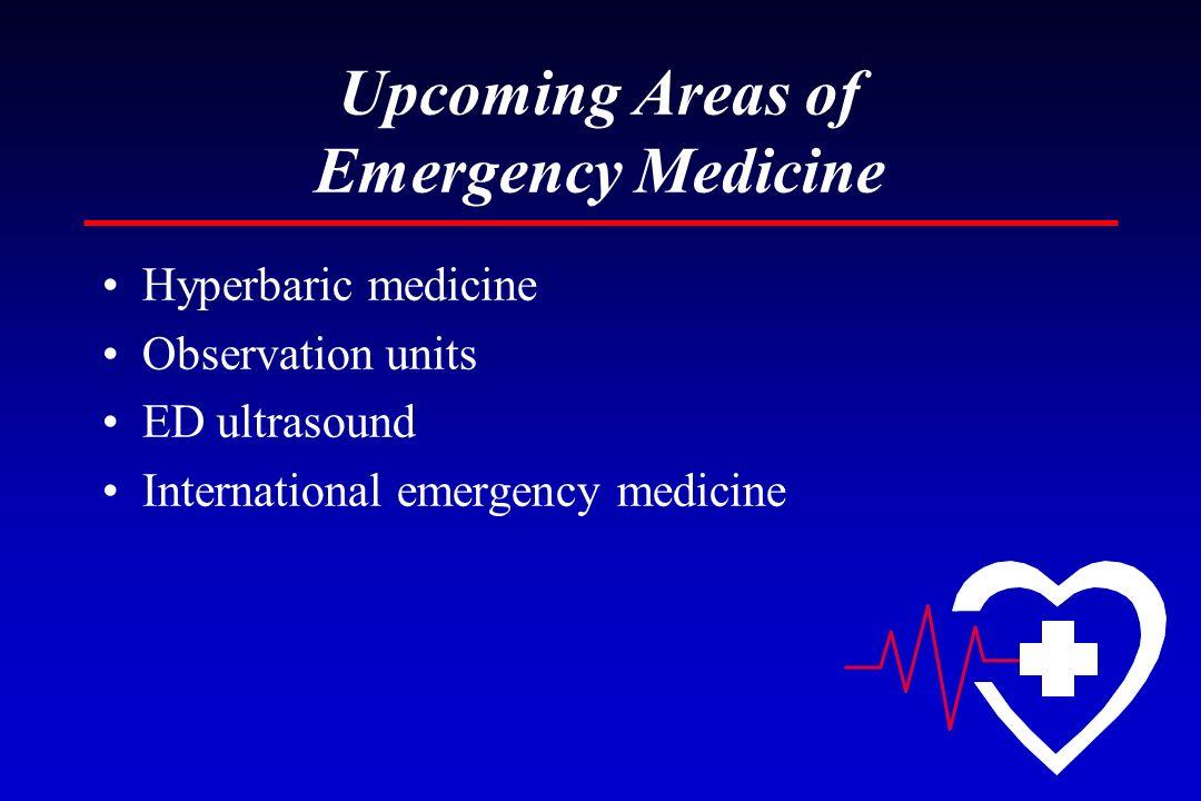 Upcoming Areas of Emergency Medicine Hyperbaric medicine Observation units ED ultrasound International emergency medicine
