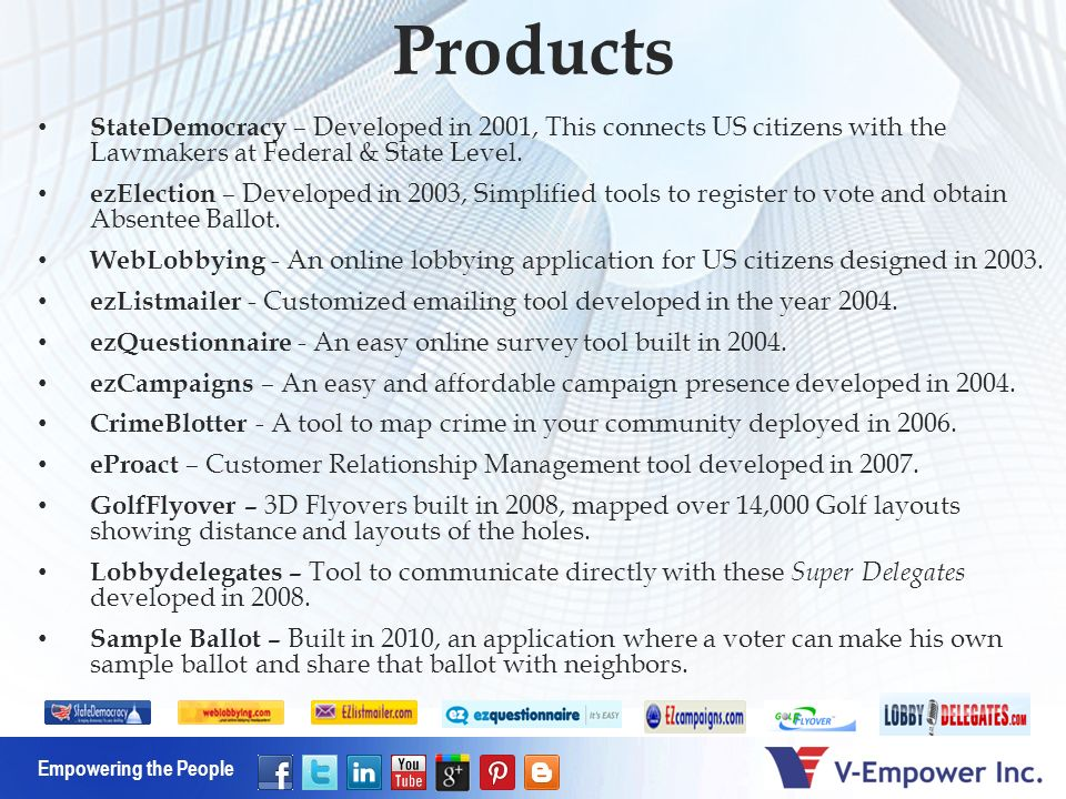 Empowering the People Products StateDemocracy – Developed in 2001, This connects US citizens with the Lawmakers at Federal & State Level.