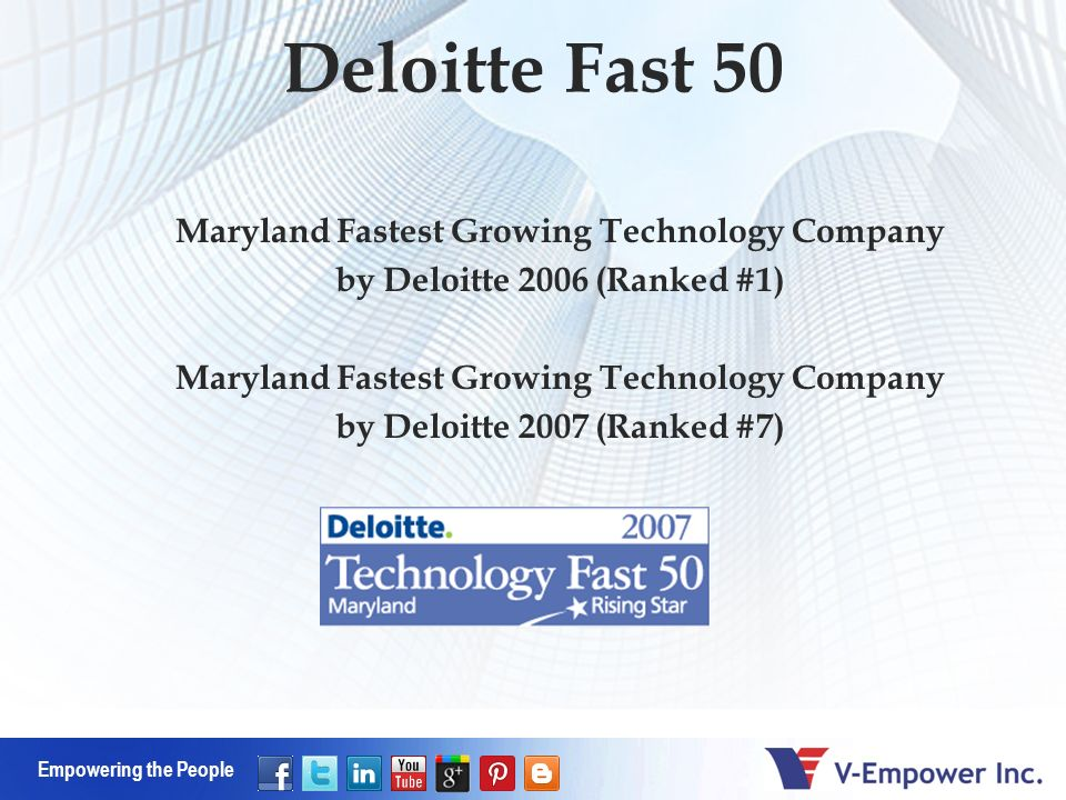 Empowering the People Deloitte Fast 50 Maryland Fastest Growing Technology Company by Deloitte 2006 (Ranked #1) Maryland Fastest Growing Technology Company by Deloitte 2007 (Ranked #7)