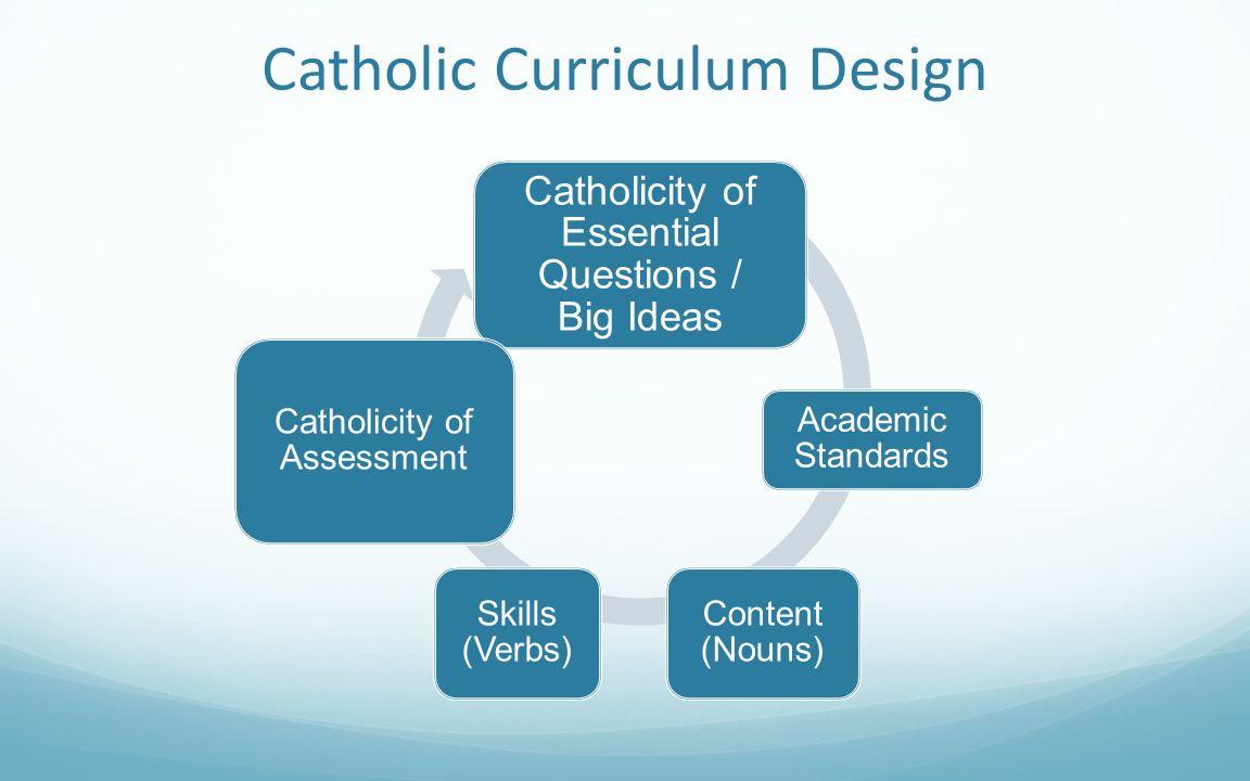 Catholic Curriculum Design Catholicity of Essential Questions / Big Ideas Academic Standards Content (Nouns) Skills (Verbs) Catholicity of Assessment