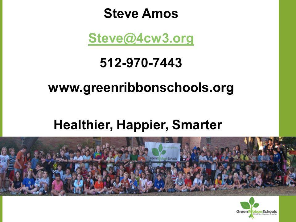 Steve Amos Steve@4cw3.org 512-970-7443 www.greenribbonschools.org Healthier, Happier, Smarter