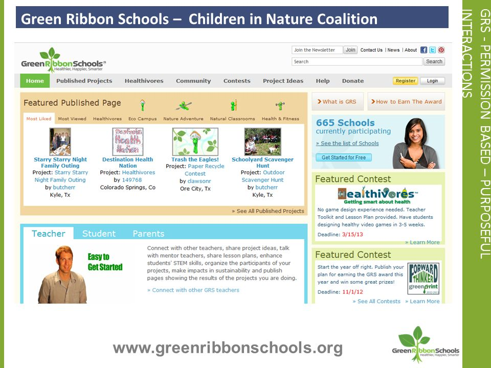 GRS - PERMISSION BASED – PURPOSEFULINTERACTIONS Green Ribbon Schools – Children in Nature Coalition www.greenribbonschools.org