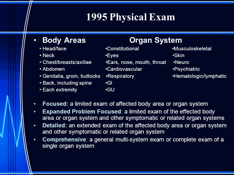 1995 Physical Exam Body Areas Organ System Head/face Constitutional Musculoskeletal Neck Eyes Skin Chest/breasts/axillae Ears, nose, mouth, throat Neu