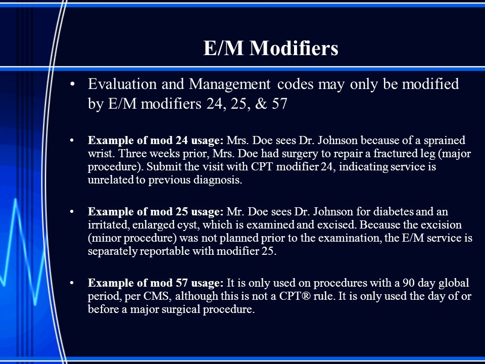 E/M Modifiers Evaluation and Management codes may only be modified by E/M modifiers 24, 25, & 57 Example of mod 24 usage: Mrs. Doe sees Dr. Johnson be