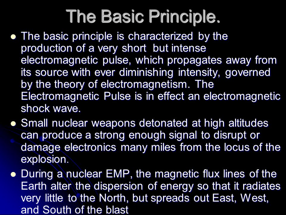 The Basic Principle. The basic principle is characterized by the production of a very short but intense electromagnetic pulse, which propagates away f