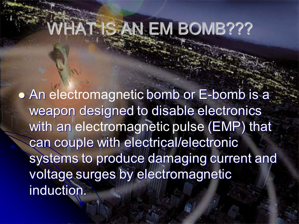 Here s the sequence of events when the bomb goes off: Here s the sequence of events when the bomb goes off: A switch connects the capacitors to the stator, sending an electrical current through the wires.