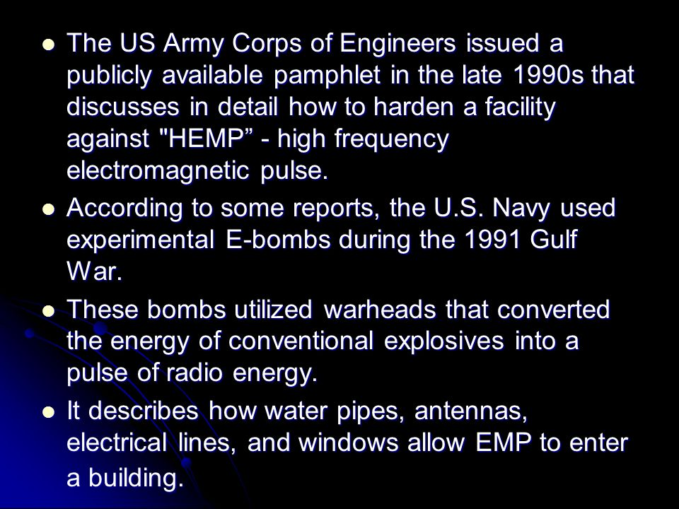 Defense against EM Bomb The most effective method is to wholly contain the equipment in an electrically conductive enclosure, termed a FARADAY CAGE, which prevents the electromagnetic field from gaining access to the protected equipment.