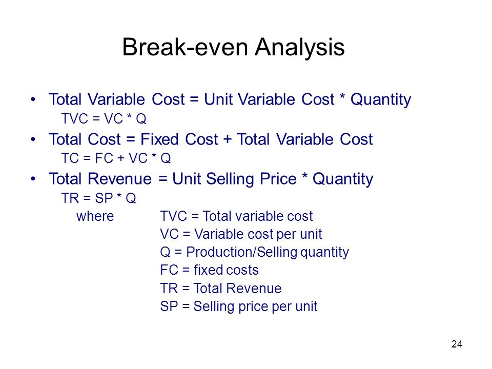 24 Break-even Analysis Total Variable Cost = Unit Variable Cost * Quantity TVC = VC * Q Total Cost = Fixed Cost + Total Variable Cost TC = FC + VC * Q