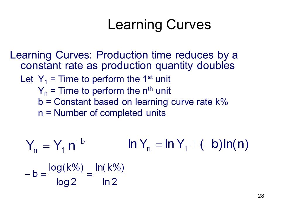 28 Learning Curves Learning Curves: Production time reduces by a constant rate as production quantity doubles Let Y 1 = Time to perform the 1 st unit