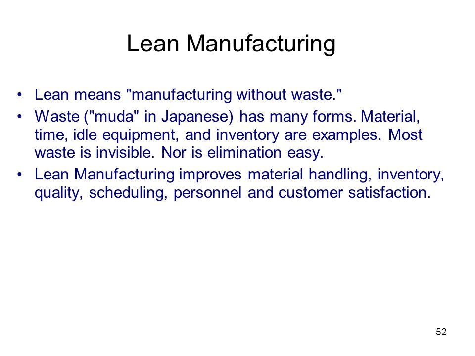 52 Lean Manufacturing Lean means