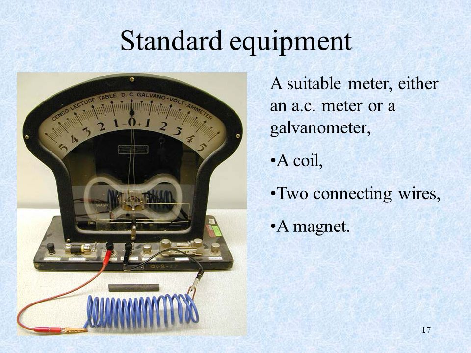 17 Standard equipment A suitable meter, either an a.c.