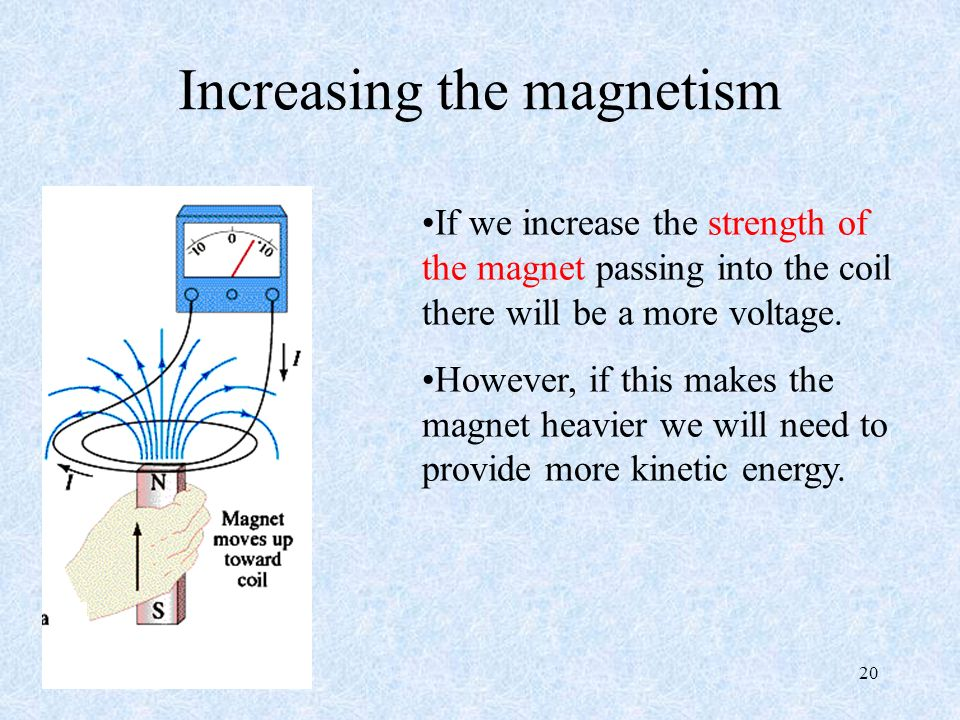 20 Increasing the magnetism If we increase the strength of the magnet passing into the coil there will be a more voltage.