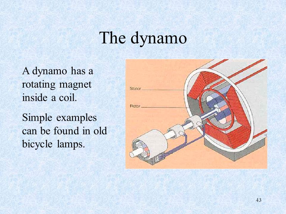 43 The dynamo A dynamo has a rotating magnet inside a coil.