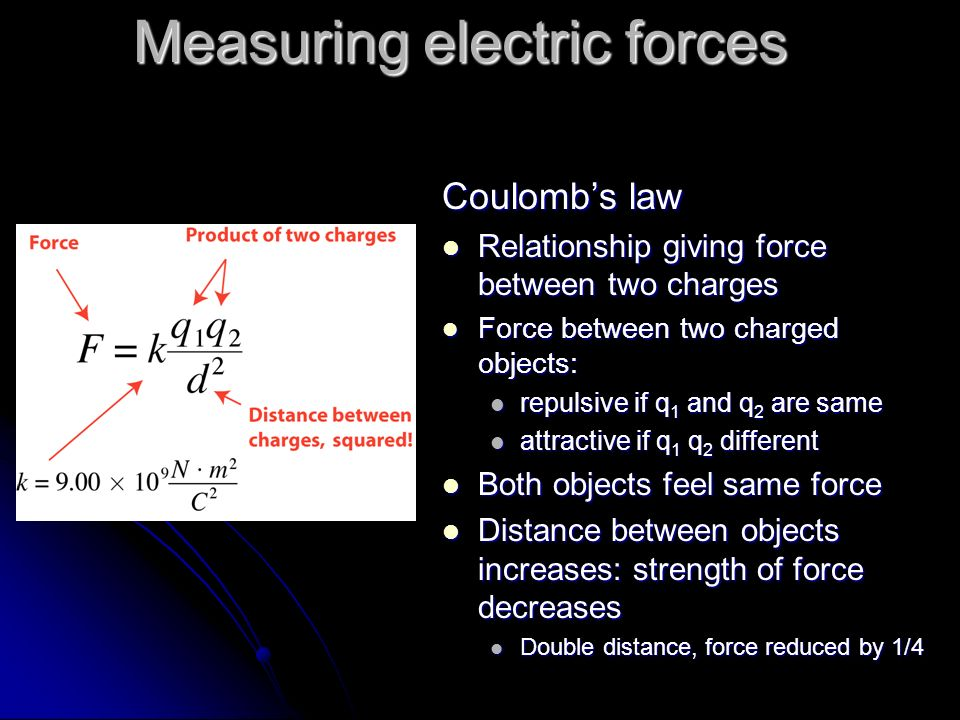 Measuring electric forces Coulombs law Relationship giving force between two charges Relationship giving force between two charges Force between two c