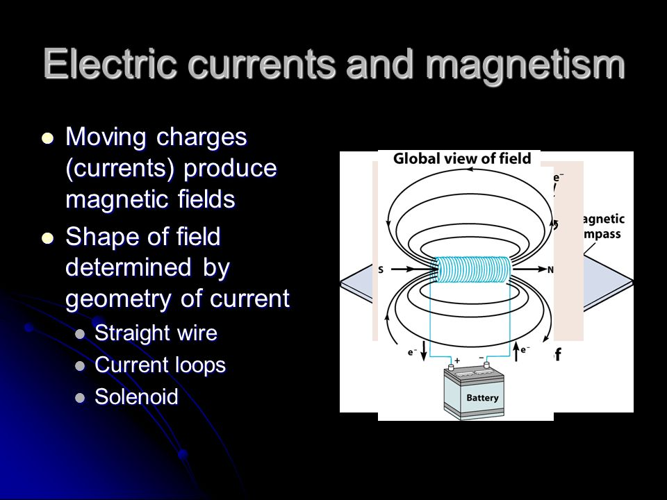 Electric currents and magnetism Moving charges (currents) produce magnetic fields Moving charges (currents) produce magnetic fields Shape of field det
