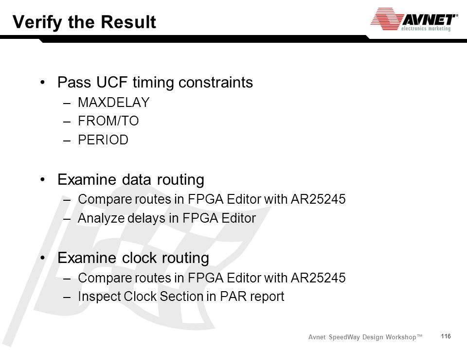 Avnet SpeedWay Design Workshop 116 Verify the Result Pass UCF timing constraints –MAXDELAY –FROM/TO –PERIOD Examine data routing –Compare routes in FP