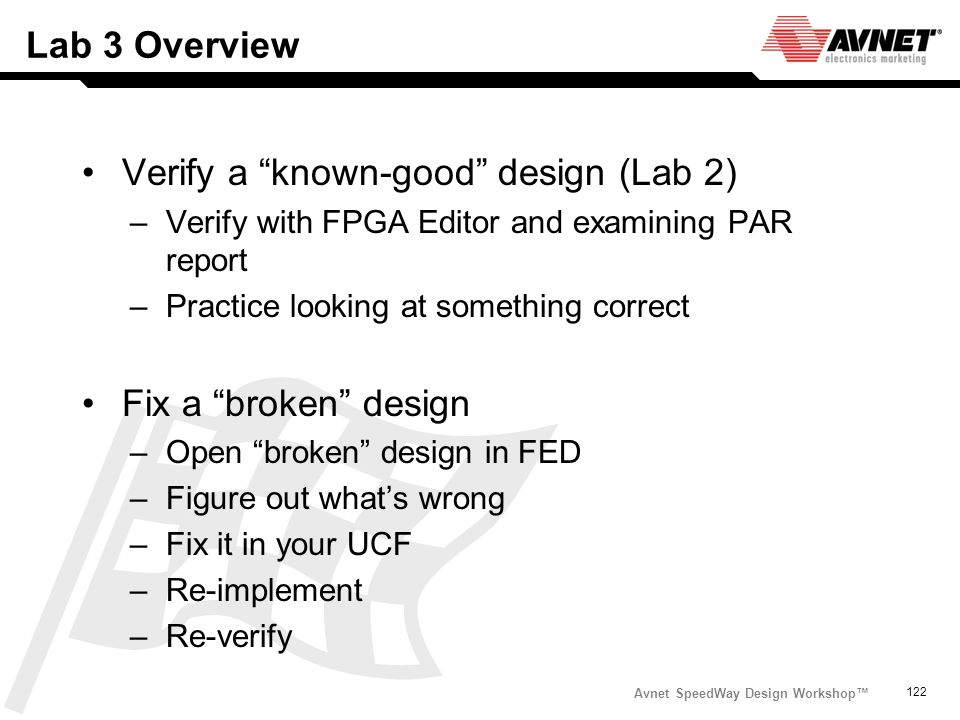 Avnet SpeedWay Design Workshop 122 Lab 3 Overview Verify a known-good design (Lab 2) –Verify with FPGA Editor and examining PAR report –Practice looki