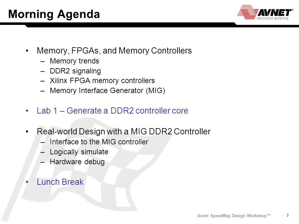 Avnet SpeedWay Design Workshop 3 Morning Agenda Memory, FPGAs, and Memory Controllers –Memory trends –DDR2 signaling –Xilinx FPGA memory controllers –