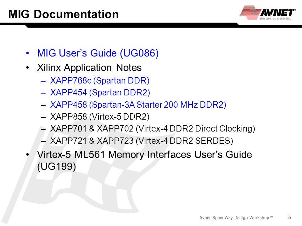 Avnet SpeedWay Design Workshop 32 MIG Documentation MIG Users Guide (UG086) Xilinx Application Notes –XAPP768c (Spartan DDR) –XAPP454 (Spartan DDR2) –