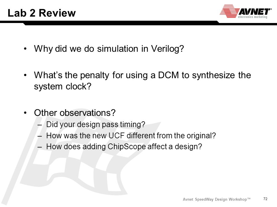 Avnet SpeedWay Design Workshop 72 Lab 2 Review Why did we do simulation in Verilog? Whats the penalty for using a DCM to synthesize the system clock?