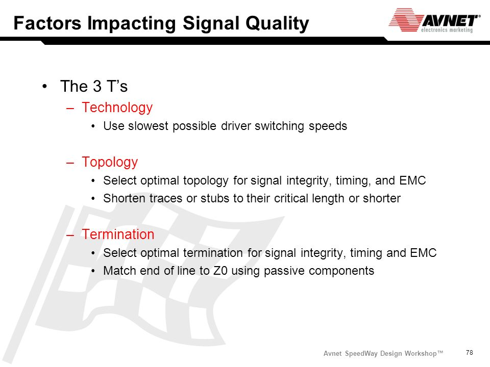 Avnet SpeedWay Design Workshop 78 Factors Impacting Signal Quality The 3 Ts –Technology Use slowest possible driver switching speeds –Topology Select