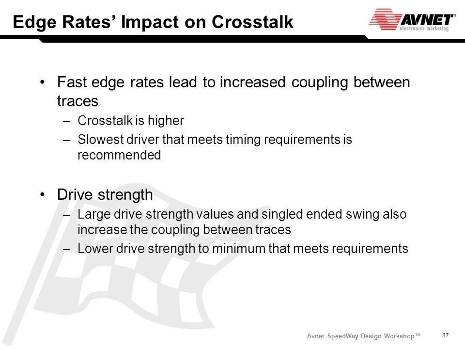 Avnet SpeedWay Design Workshop 87 Edge Rates Impact on Crosstalk Fast edge rates lead to increased coupling between traces –Crosstalk is higher –Slowe