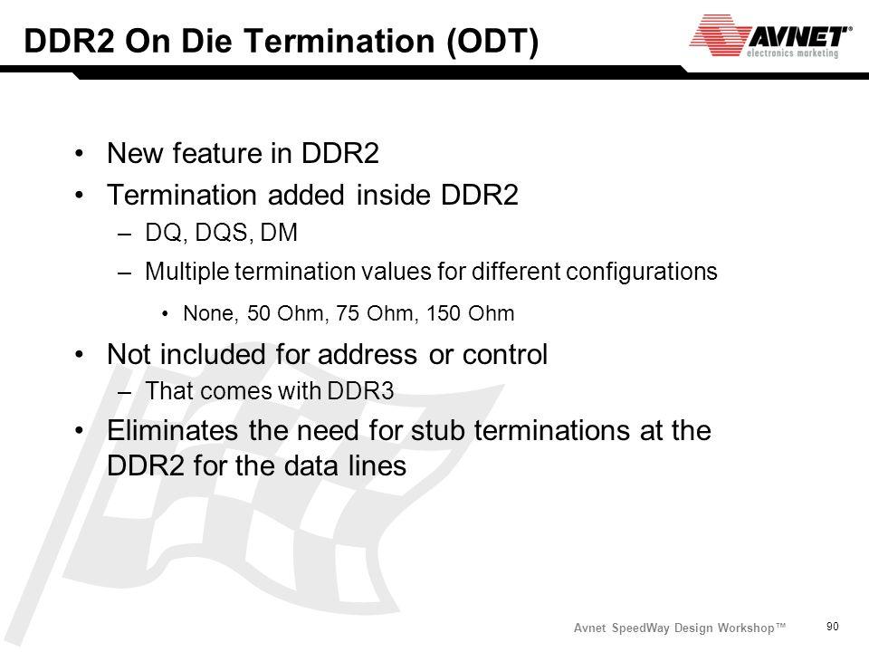 Avnet SpeedWay Design Workshop 90 DDR2 On Die Termination (ODT) New feature in DDR2 Termination added inside DDR2 –DQ, DQS, DM –Multiple termination v