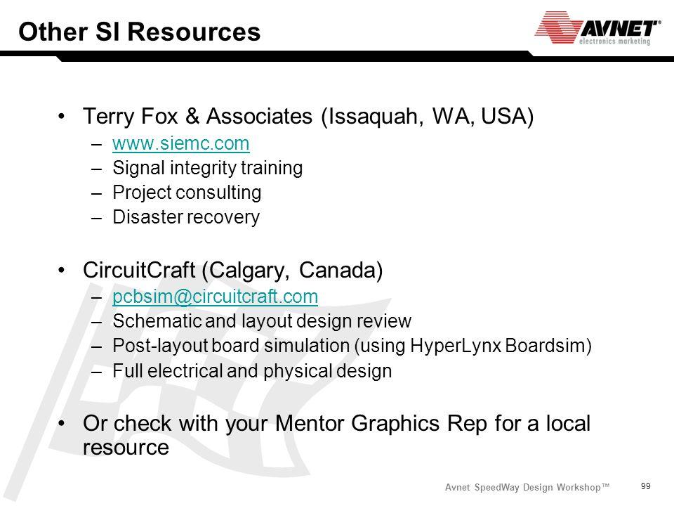 Avnet SpeedWay Design Workshop 99 Other SI Resources Terry Fox & Associates (Issaquah, WA, USA) –www.siemc.comwww.siemc.com –Signal integrity training
