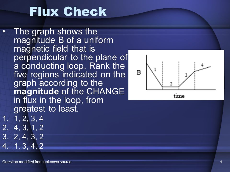 6 Flux Check The graph shows the magnitude B of a uniform magnetic field that is perpendicular to the plane of a conducting loop. Rank the five region