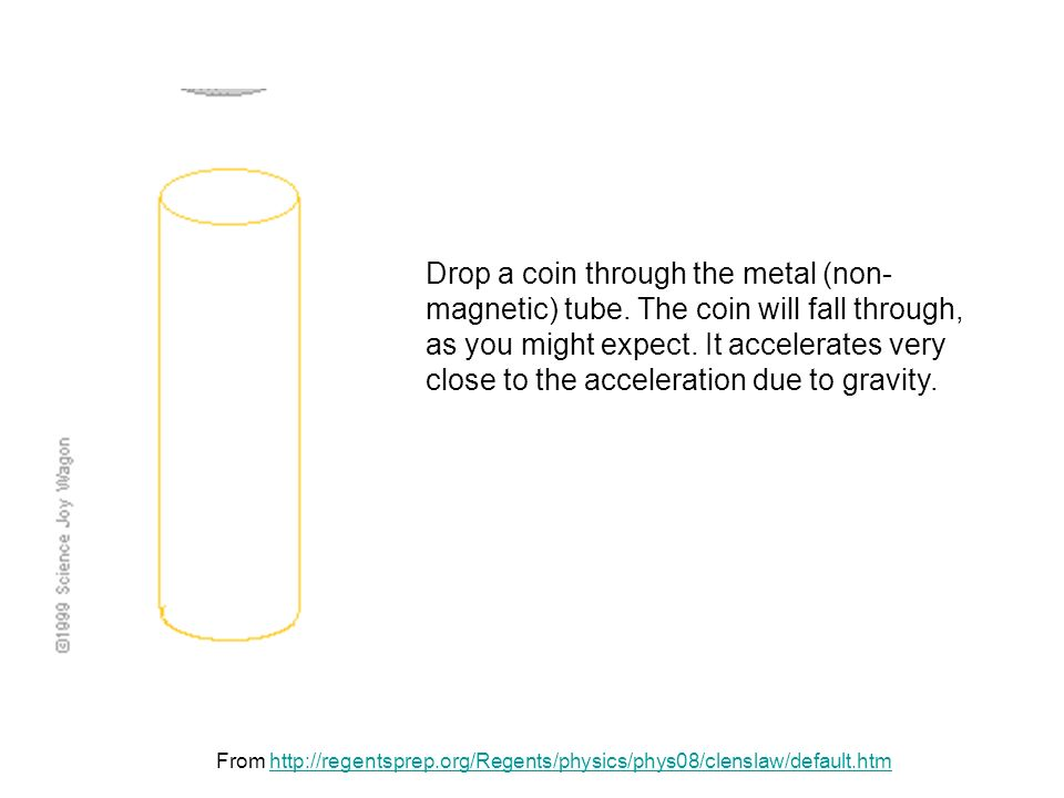 From http://regentsprep.org/Regents/physics/phys08/clenslaw/default.htmhttp://regentsprep.org/Regents/physics/phys08/clenslaw/default.htm Drop a coin