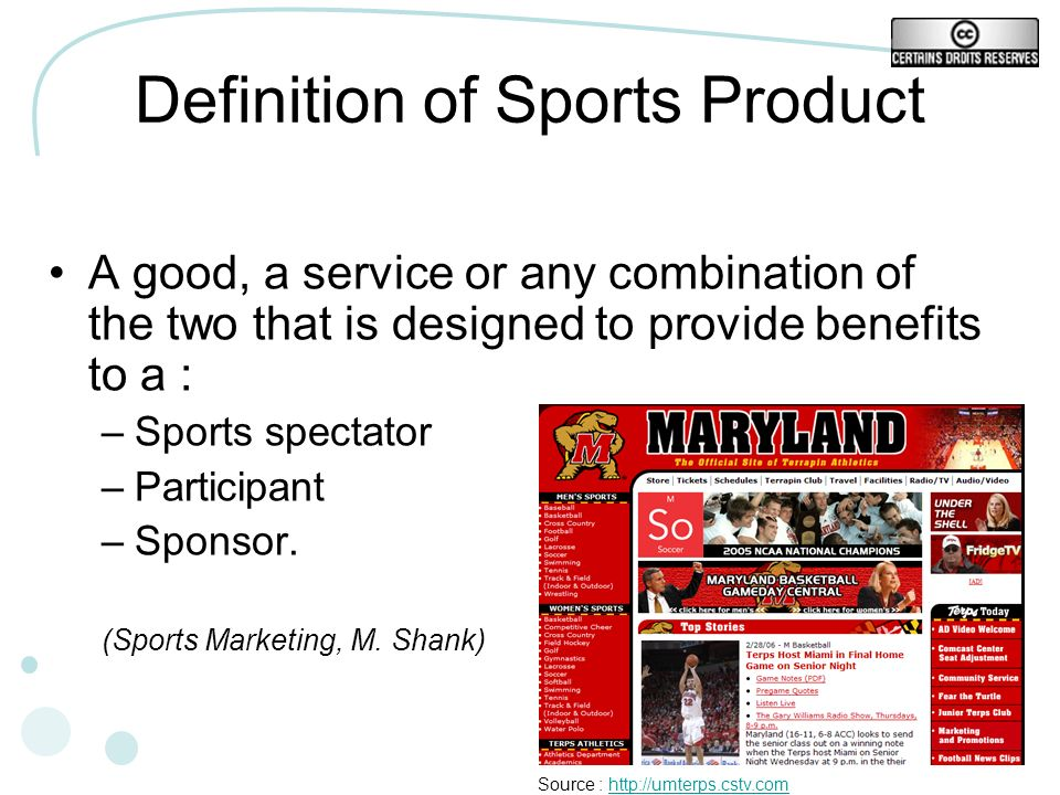 13 Definition of Sports Product A good, a service or any combination of the two that is designed to provide benefits to a : –Sports spectator –Partici