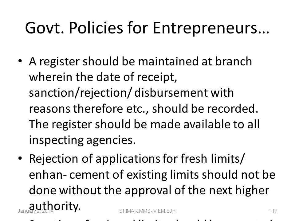 Govt. Policies for Entrepreneurs… Bank should give acknowledgement for loan applications received from the borrowers. All loan applications for SSI up