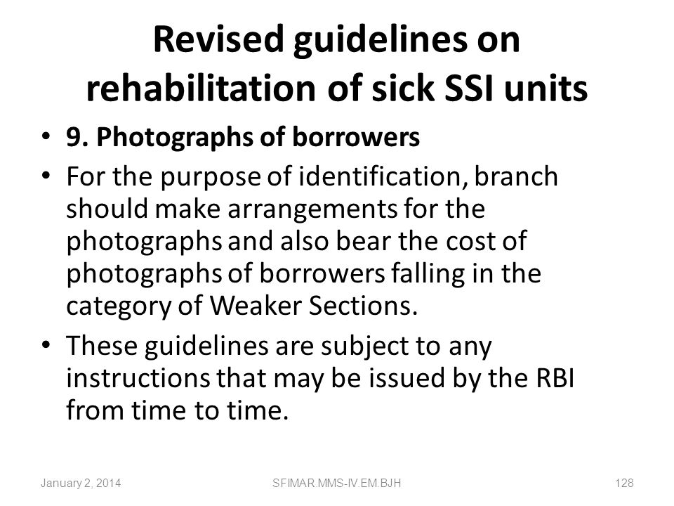 Revised guidelines on rehabilitation of sick SSI units Table showing insurance exemption for the Category, Risk and the assets is given below: All cat