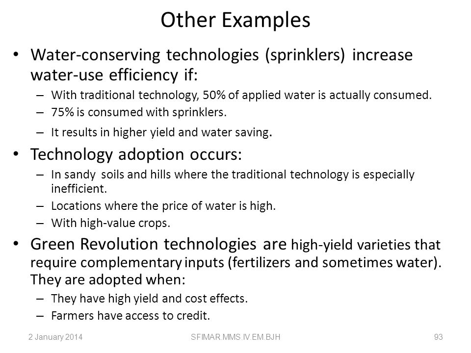 Application of the Threshold Approach Mechanical innovations: Tractors and cars are adopted by larger farms and richer families. In the case of a trac