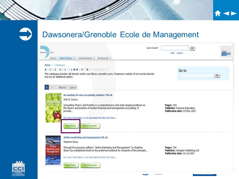 Accréditations Dawsonera/Grenoble Ecole de Management