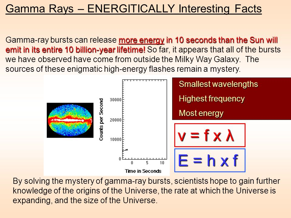 more energy in 10 seconds than the Sun will emit in its entire 10 billion-year lifetime! Gamma-ray bursts can release more energy in 10 seconds than t