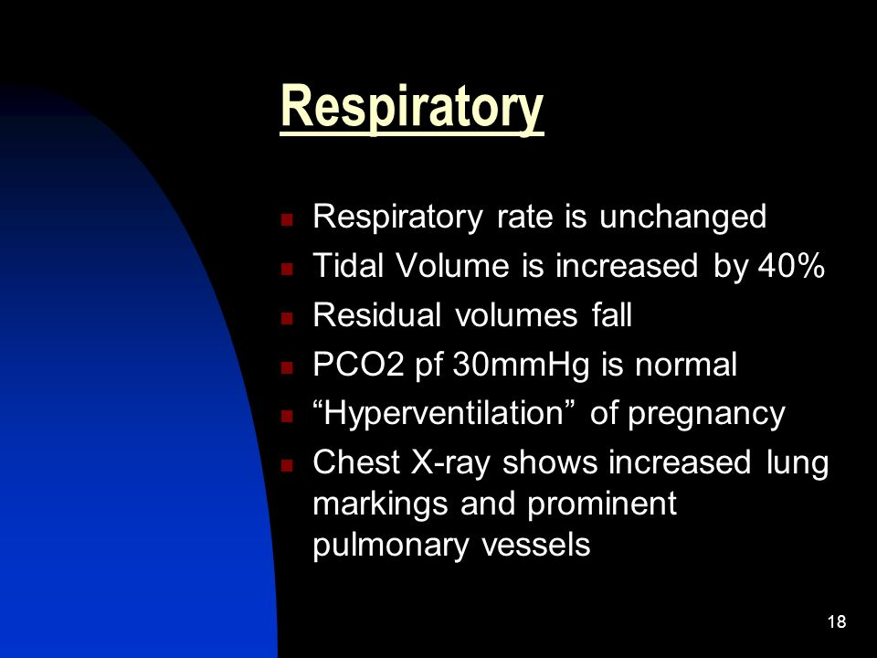 18 Respiratory Respiratory rate is unchanged Tidal Volume is increased by 40% Residual volumes fall PCO2 pf 30mmHg is normal Hyperventilation of pregn