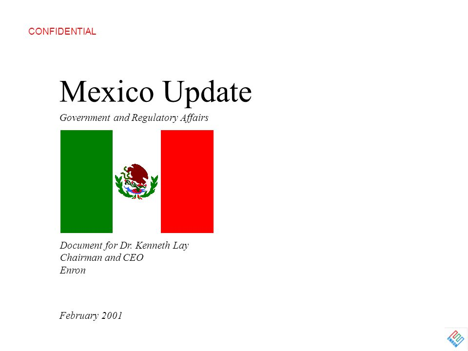 Mexico Update Government and Regulatory Affairs February 2001 CONFIDENTIAL Document for Dr. Kenneth Lay Chairman and CEO Enron