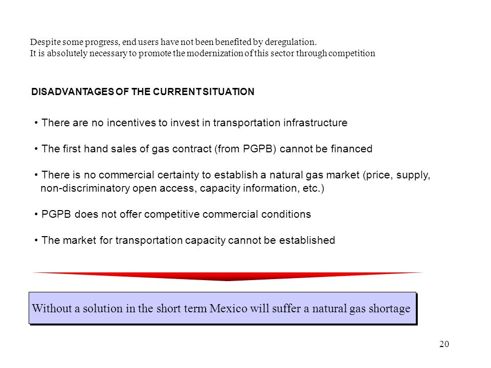 20 DISADVANTAGES OF THE CURRENT SITUATION There are no incentives to invest in transportation infrastructure The first hand sales of gas contract (from PGPB) cannot be financed There is no commercial certainty to establish a natural gas market (price, supply, non-discriminatory open access, capacity information, etc.) PGPB does not offer competitive commercial conditions The market for transportation capacity cannot be established Despite some progress, end users have not been benefited by deregulation.