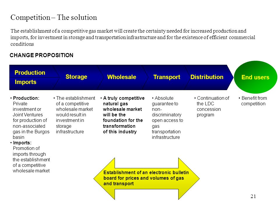 21 CHANGE PROPOSITION End users Storage WholesaleTransportDistribution Imports Production Production: Private investment or Joint Ventures for product