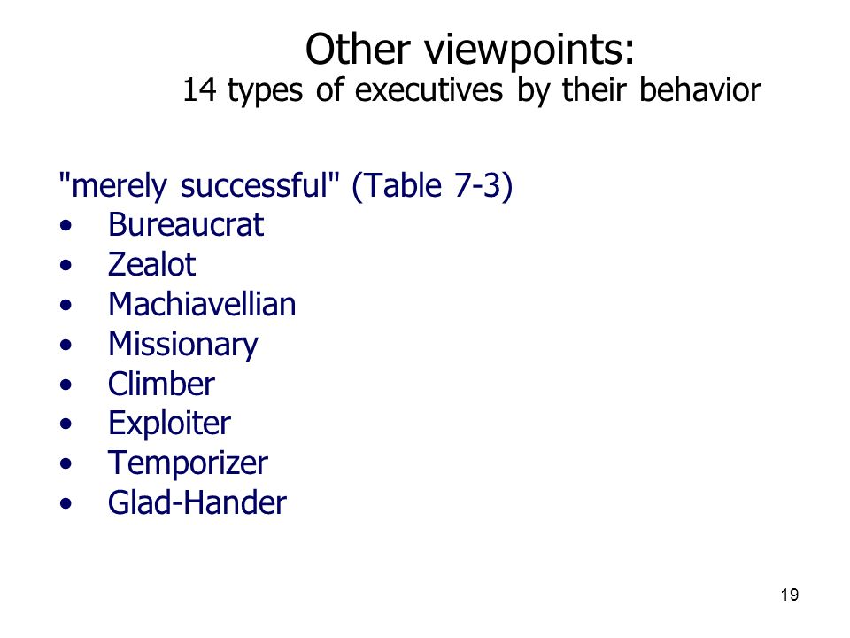 19 Other viewpoints: 14 types of executives by their behavior