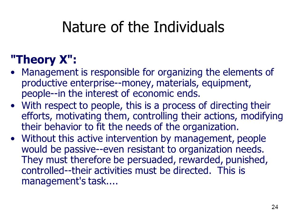 24 Nature of the Individuals